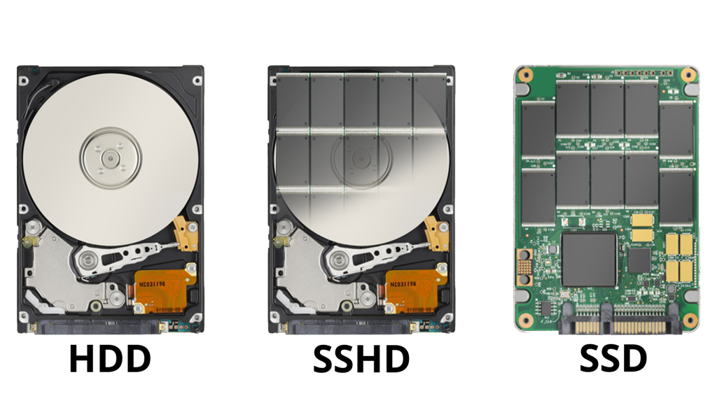 HDD, SSD and SSHD